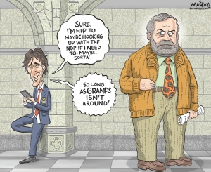"Editorial cartoon by Graeme MacKay, The Hamilton Spectator -  Thursday April 16, 2015 Trudeau might be open to forming coalition with NDP, but not with Mulcair as leader Liberal Leader Justin Trudeau says he would ""maybe"" be more open to the idea of forming a coalition with the NDP if Tom Mulcair was not running the party. Asked on Tuesday whether having someone other than Mulcair as leader would change the dynamic in terms of a coalition between the two parties, Trudeau replied: ""I don't know.... Honestly, I don't want to get into hypotheses. Maybe, but maybe not. ""There are no problems in terms of personality,"" he told The Canadian Press in an interview from Oakville, Ont. ""Mr. Mulcair is a veteran politician who has proven himself. ""His style is anchored in the old way of practising politics. Politics needs to be about rallying. And we have very different perspectives on how politics should be practised."" Some recent polls have suggested the possibility of a minority government in Ottawa after this fall's election. Mulcair reiterated his openness last month to a possible coalition with the Liberals if it is necessary to topple Stephen Harper's Conservatives. The Opposition leader accused Trudeau at the time of putting personal interests ahead of those of Canadians because the Liberal leader had repeatedly expressed his lack of interest in discussing coalitions. ""Whenever we have opened that door, Justin Trudeau slams it shut,"" Mulcair said. ""My first priority is to get rid of Stephen Harper. The first priority of Justin Trudeau is Justin Trudeau."" (Source: CBC News) http://www.cbc.ca/news/politics/trudeau-might-be-open-to-forming-coalition-with-ndp-but-not-with-mulcair-as-leader-1.3033196 Canada, Justin Trudeau, Thomas Mulcair, NDP, Liberal, party, leadership, age, young, old, coalition, election, minority, government"