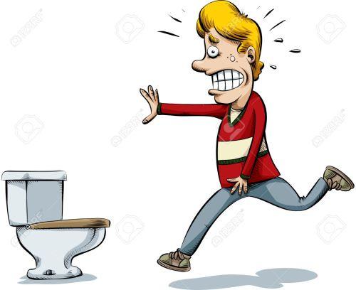 A cartoon man runs to to the toilet to pee.